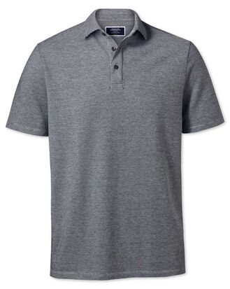 Black and white textured polo