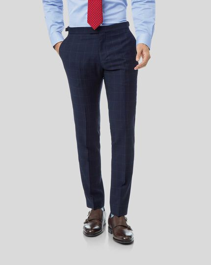 British Luxury Check Suit - Navy