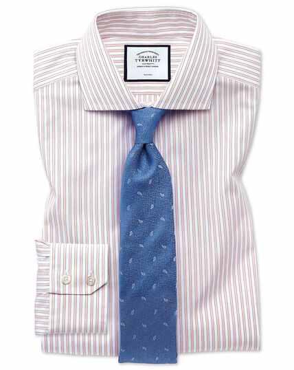Bügelfreies Extra Slim Fit Hemd mit Schattenstreifen in Rosa