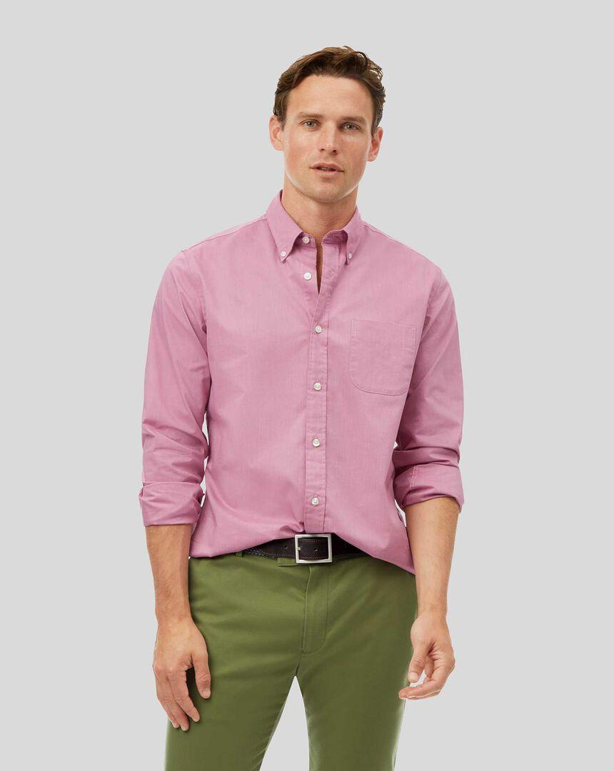 Vorgewaschenes Popeline-Hemd aus Stretchgewebe mit Button-down-Kragen - Rosa