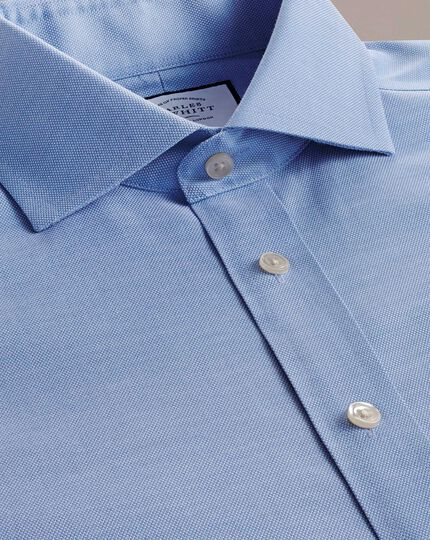 Extra slim fit non-iron mid-blue Oxford stretch shirt