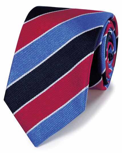 Cravate luxe rouge et bleu ciel en tissu anglais à rayures club