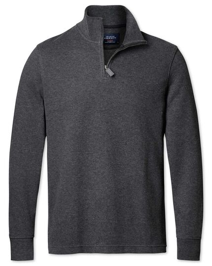 Charcoal half zip jersey jumper