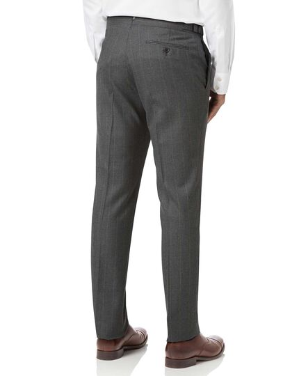 Charcoal slim fit tan stripe British luxury suit pants