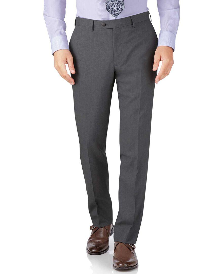 Silver slim fit crepe business suit pants