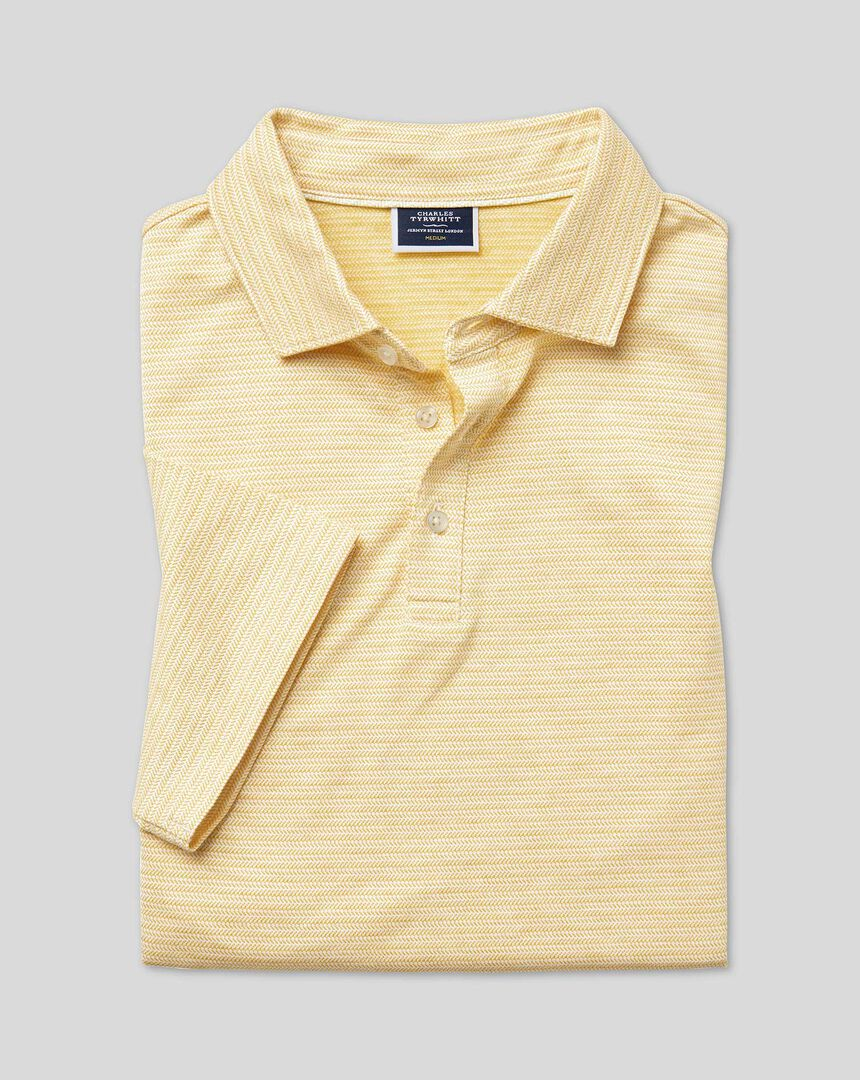 Herringbone Cotton Linen Polo - Yellow