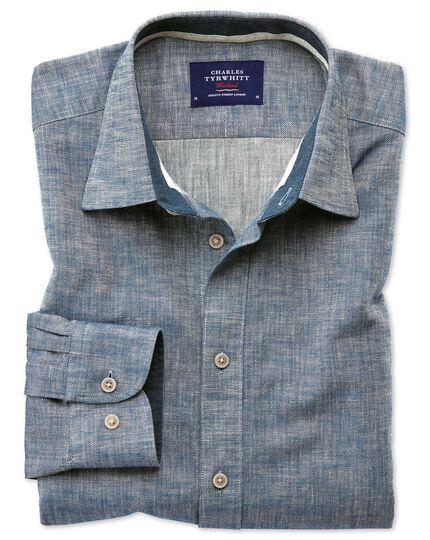 Chemise bleu jean à col tunisien avec chevrons slim fit