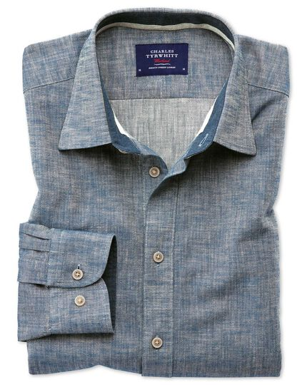 Slim fit popover herringbone denim blue shirt