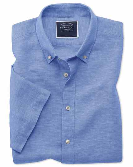 Slim fit bright blue cotton linen twill short sleeve shirt