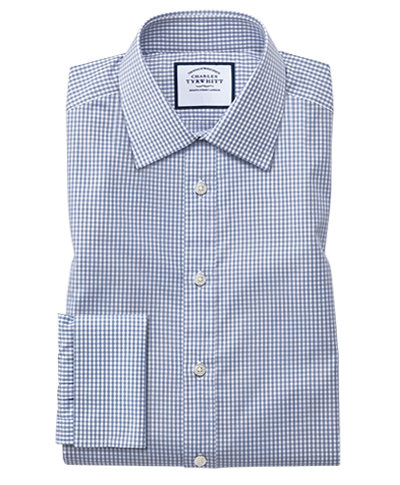 Extra slim fit small gingham grey shirt