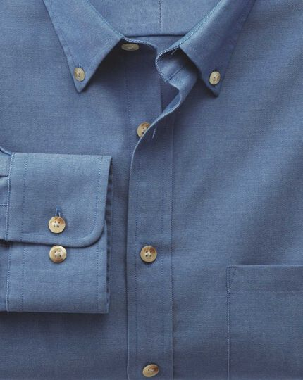 Slim fit non-iron twill blue shirt