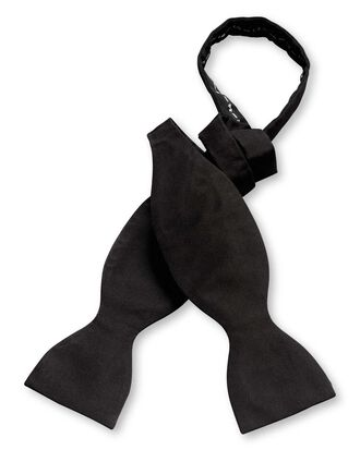 Black silk barathea self-tie bow tie