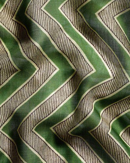 Zig Zag Wool Silk Pocket Square - Green