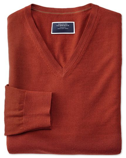 Rust v-neck merino jumper