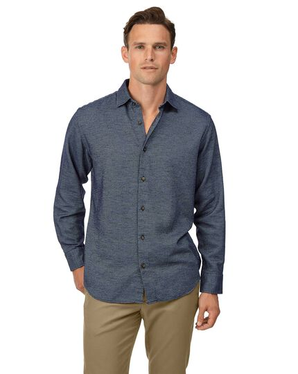 Classic fit navy semi winter flannel plain shirt