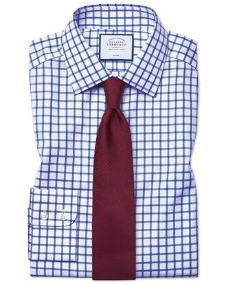 Classic fit non-iron royal blue grid check twill shirt
