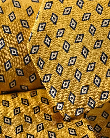 Diamond Geometric Print Tie - Gold & Navy
