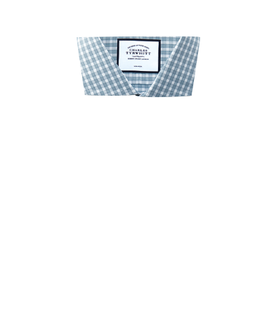 Bügelfreies Slim Fit Twill-Hemd mit Gingham-Karos in Blaugrün