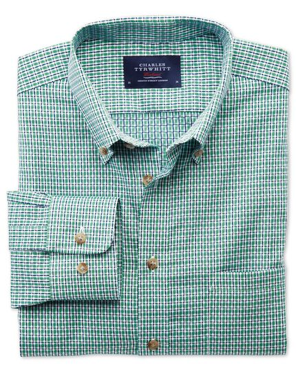 Slim fit non-iron poplin green and navy check shirt