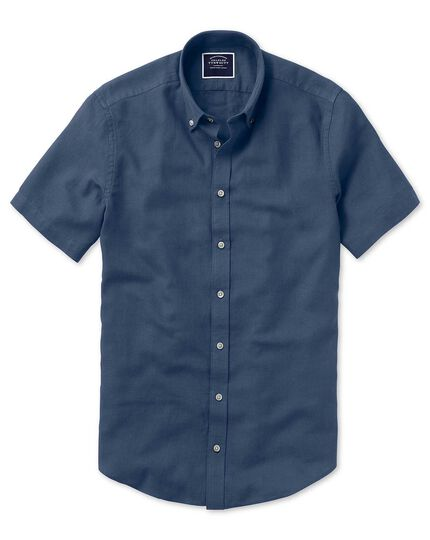 Classic fit dark blue cotton linen twill short sleeve shirt