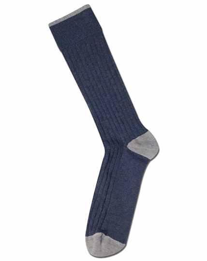 Indigo blue cotton rib socks