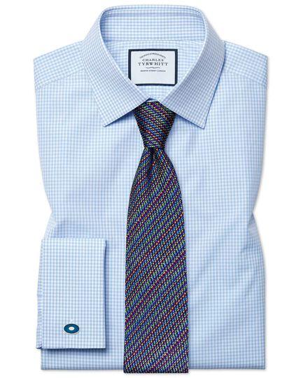 Slim Fit Hemd mit kleinen Gingham-Karos in Himmelblau