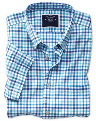 Slim Fit Kurzarmhemd aus Popeline mit Gingham-Karos in Blau