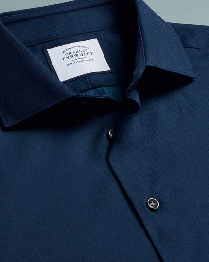 Classic fit micro diamond blue shirt