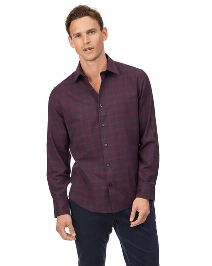 Cotton With Tencel™ Check Shirt - Burgundy