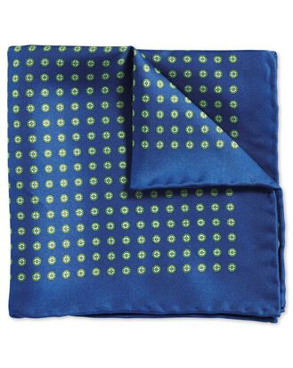 Royal and green classic printed geometric pocket square