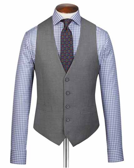 Grey adjustable fit twill business suit vest