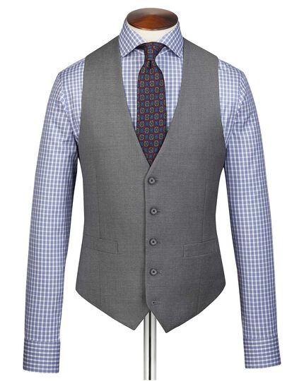 Grey adjustable fit twill business suit waistcoat