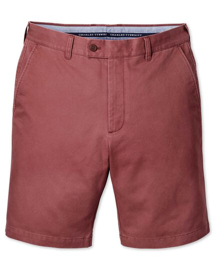 Light red slim fit chino shorts