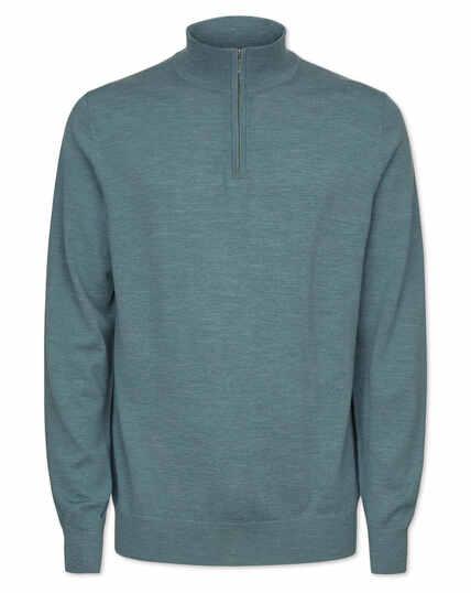 Blue merino zip neck jumper