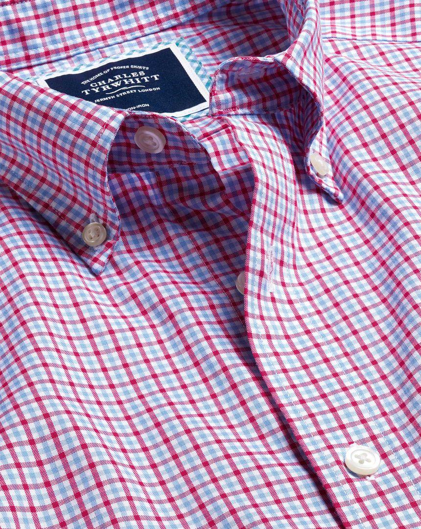 Bügelfreies Oxford Hemd aus Stretchgewebe mit Button-down-Kragen und bunten Gingham-Karos - Rosa