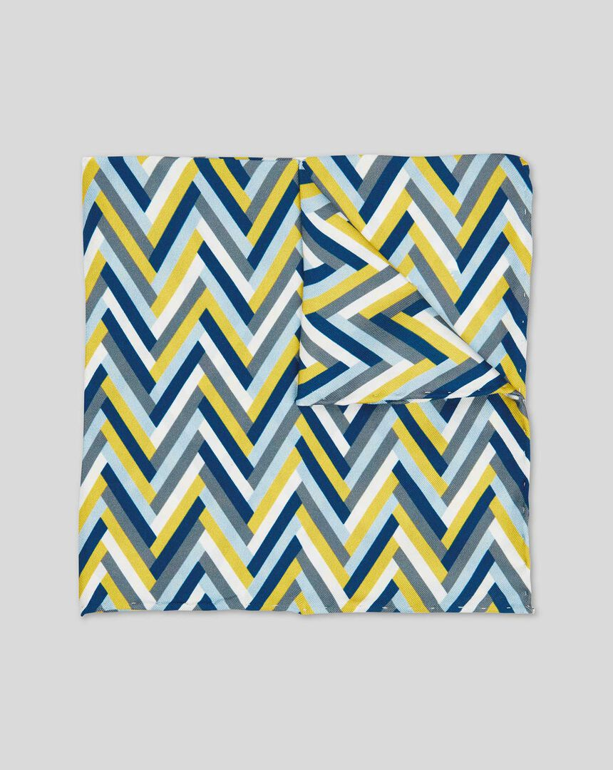 Zig Zag Geometric Print Pocket Square - Lime & Navy
