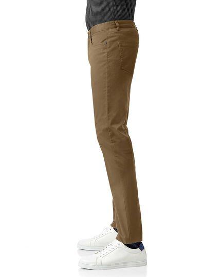 Tan cotton stretch 5 pocket pants