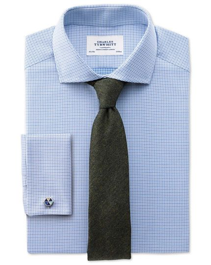 Chemise bleue en coton égyptien texturé slim fit à col cutaway