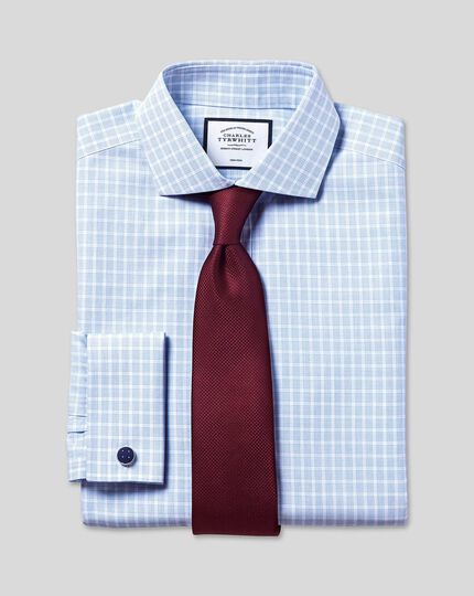 Cutaway Collar Non-Iron Poplin Check Shirt - Sky