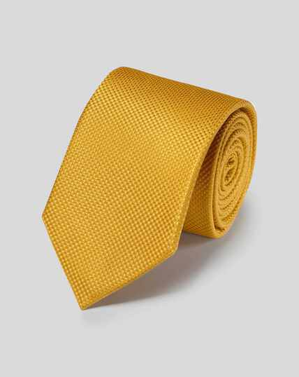 Stain Resistant Silk Textured Plain Classic Tie - Gold