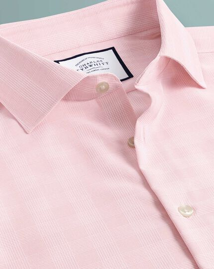 Classic fit business casual non-iron pink check shirt
