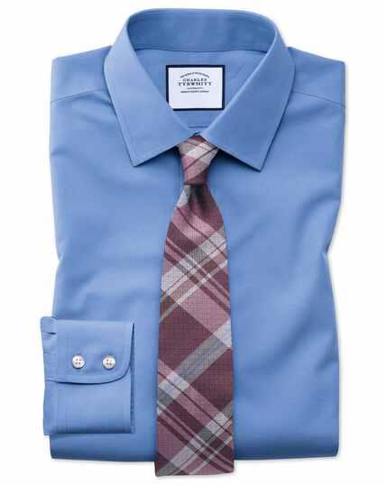 Classic fit blue non-iron poplin shirt