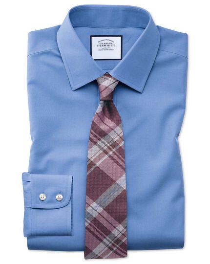 Chemise bleue en popeline sans repassage avec coupe droite