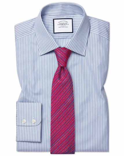 Slim fit poplin fine stripe blue shirt