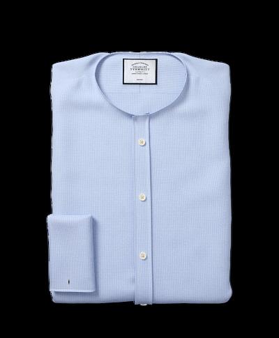 Spread Collar Non-Iron Puppytooth Shirt  - Sky