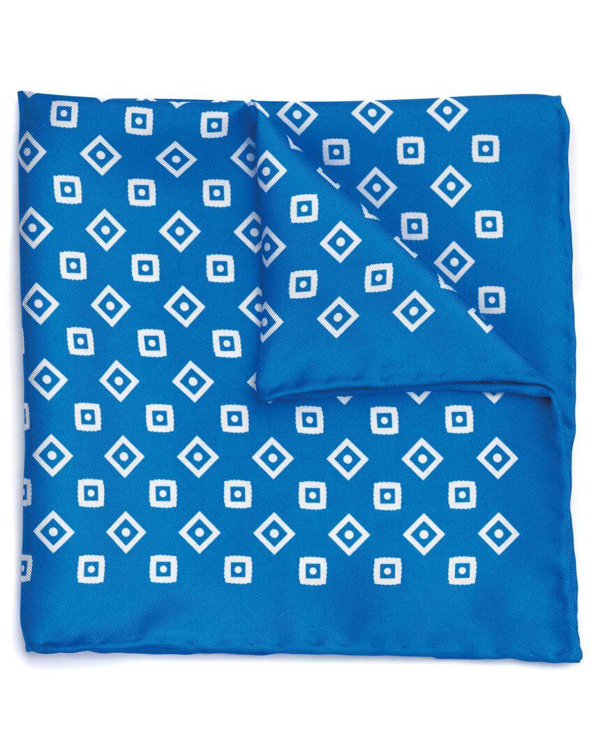 Royal blue and white silk geometric print pocket square