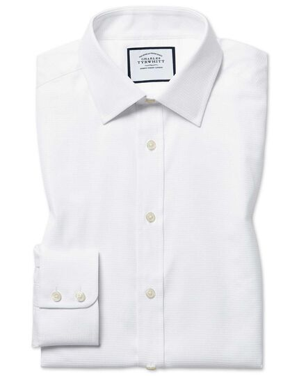 Extra slim fit Egyptian cotton chevron white shirt