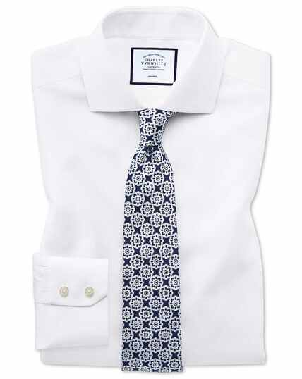 Classic fit non iron cotton stretch oxford white shirt