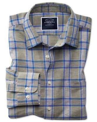 Classic fit khaki check cotton linen shirt