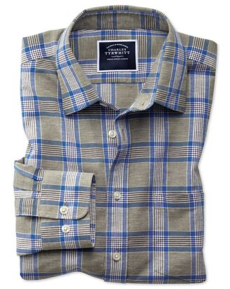 Slim fit khaki check cotton linen shirt
